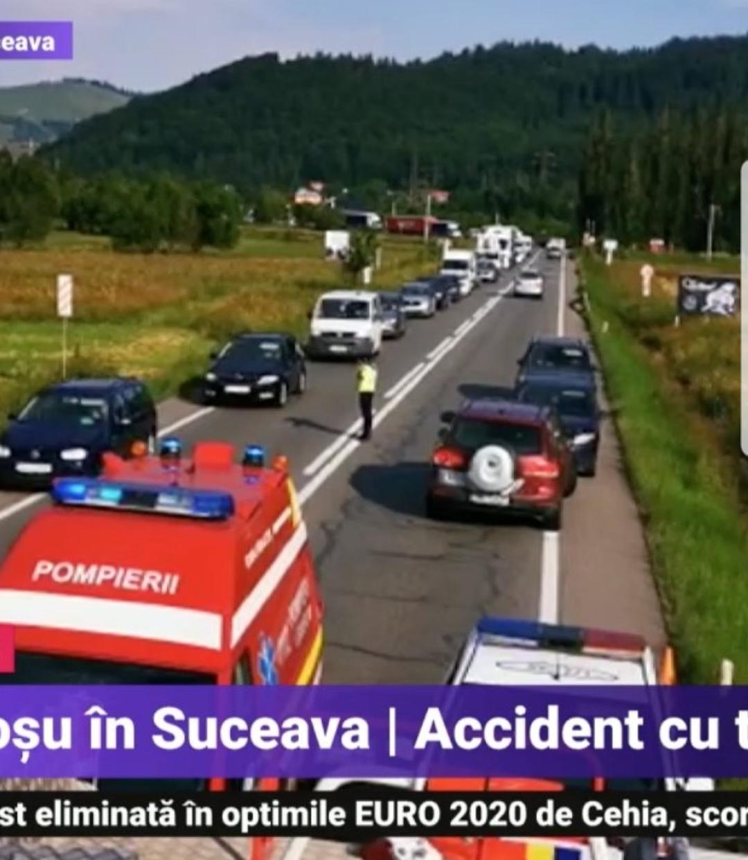 Accident cu doua microbuze și un autoturism, 7 victime duse la spital